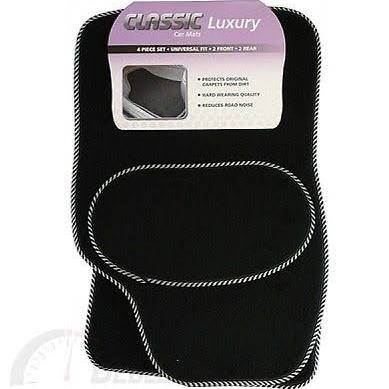 Classic Universal Venice Black Car Mat Set with Silver S Binding - UM12