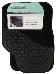 Classic Universal Black Car Mat Set with Rubber Drivers Heel Pad UM9